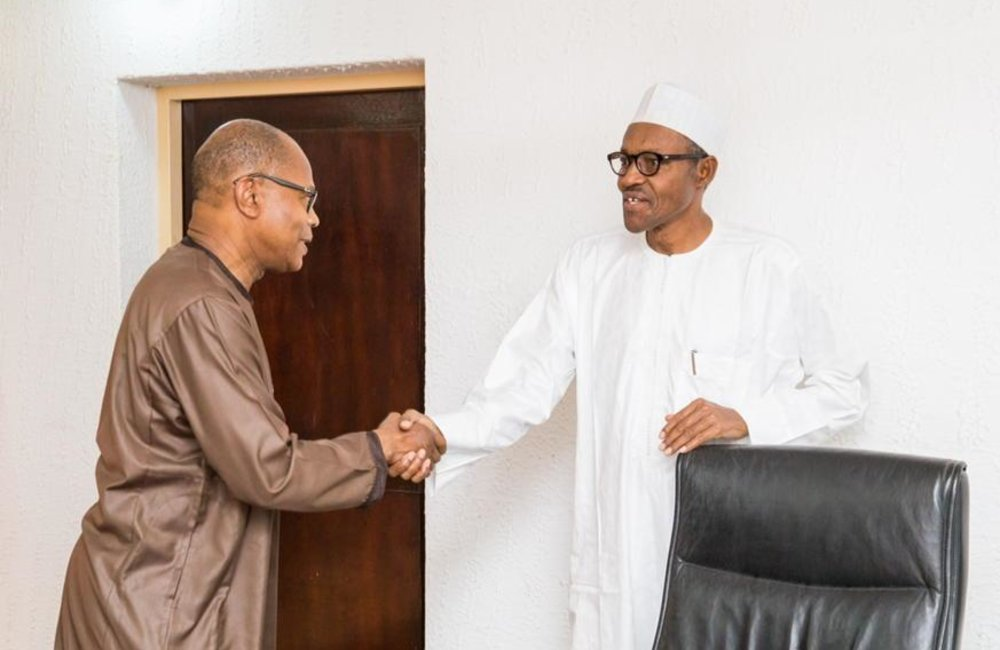 Nigerian President Elected Muhammadu Buhari with UN Secretary General for Central republic, Mr Abdoulaye Bathily alongside Dr Ibn Chambas on 17 April 2015 in Abuja. 